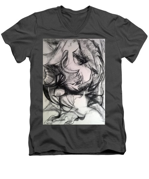 Charcoal Study Men's V-Neck T-Shirt