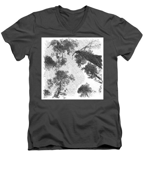 Men's V-Neck T-Shirt featuring the photograph Charcoal Trees by RKAB Works