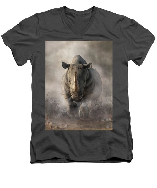 Charging Rhino Men's V-Neck T-Shirt