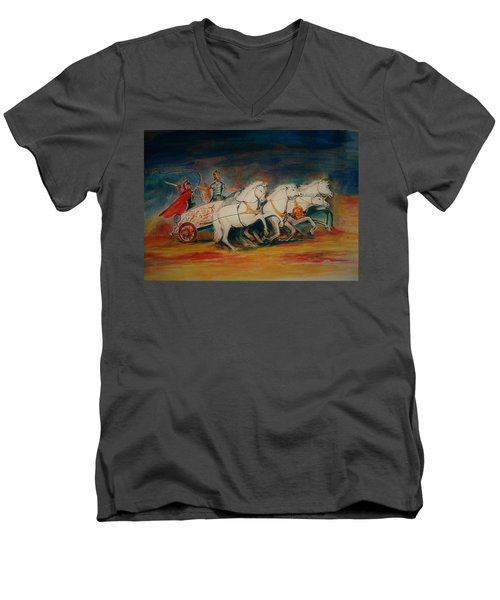 Chariot Men's V-Neck T-Shirt by Khalid Saeed