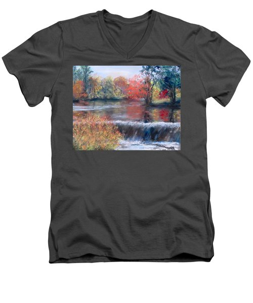 Charles River, Natick Men's V-Neck T-Shirt by Jack Skinner
