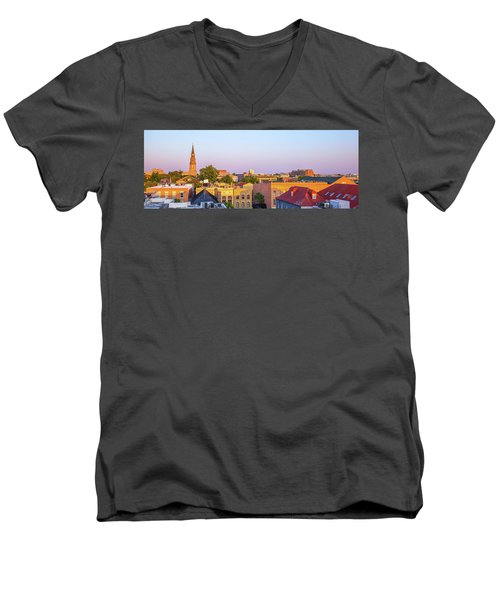 Men's V-Neck T-Shirt featuring the photograph Charleston Glows by Donnie Whitaker