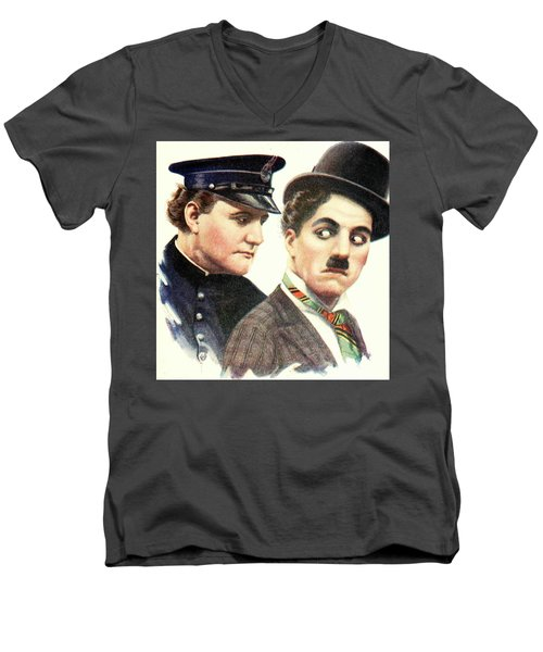 Charlie Chaplan And The Keystone Cop Men's V-Neck T-Shirt