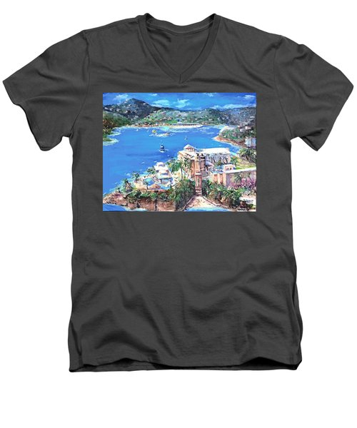 Charlotte Amalie Marriott Frenchmans Beach Resort St. Thomas Us Virgin Island Aerial Men's V-Neck T-Shirt by Bernadette Krupa