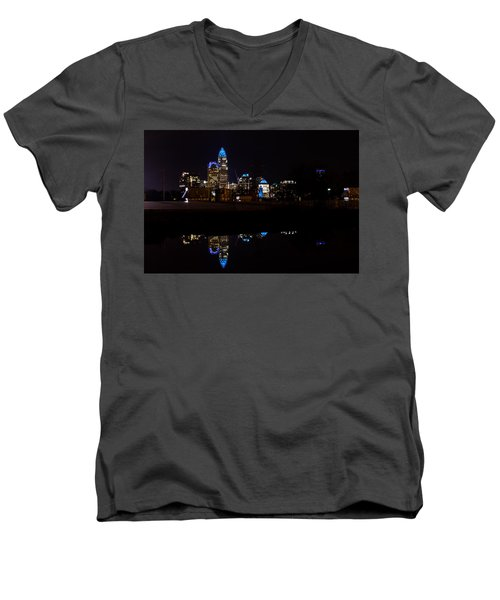 Charlotte Reflection At Night Men's V-Neck T-Shirt by Serge Skiba