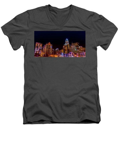 Charlotte Skyline At Night Men's V-Neck T-Shirt