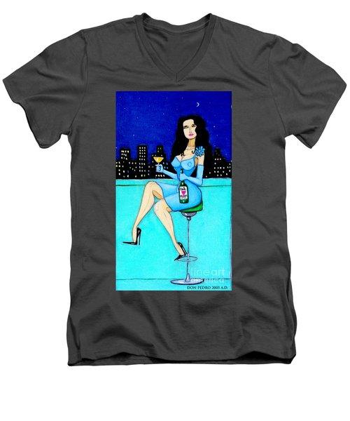 Charming Lady At Night Men's V-Neck T-Shirt by Don Pedro De Gracia