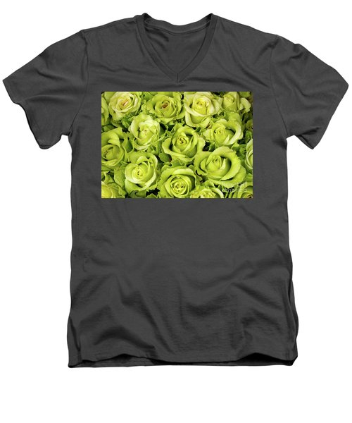 Chartreuse Colored Roses Men's V-Neck T-Shirt