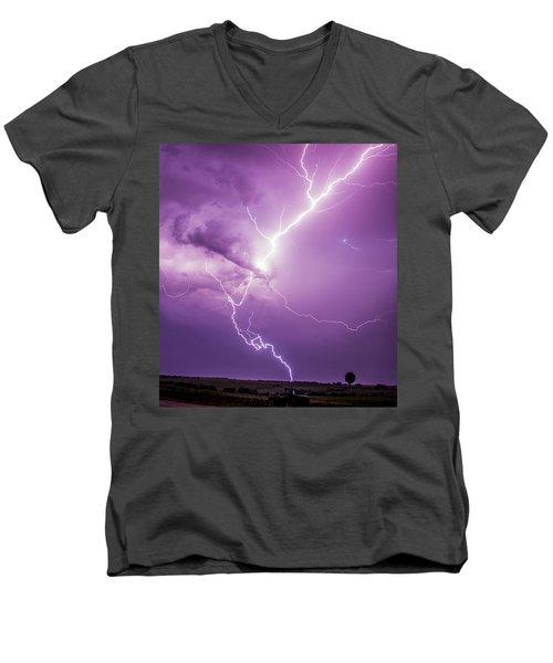Chasing Nebraska Lightning 018 Men's V-Neck T-Shirt
