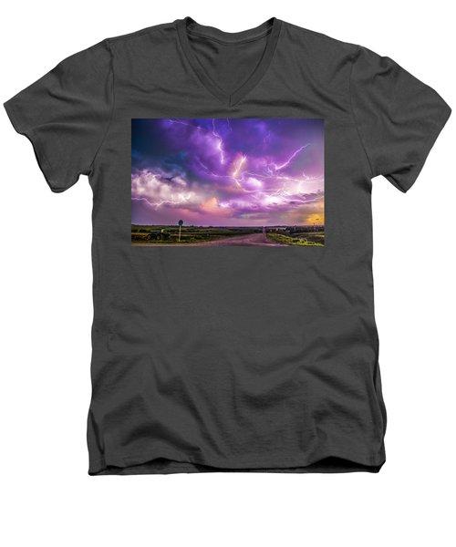 Chasing Nebraska Lightning 056 Men's V-Neck T-Shirt