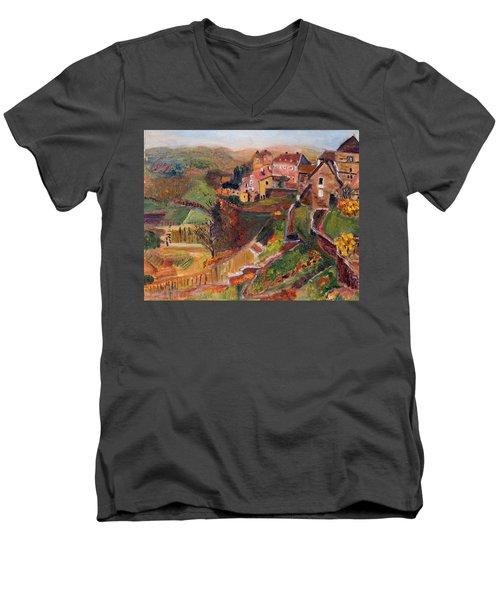 Chateau Chalon Men's V-Neck T-Shirt by Michael Helfen