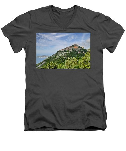 Chateau D'eze On The Road To Monaco Men's V-Neck T-Shirt by Allen Sheffield
