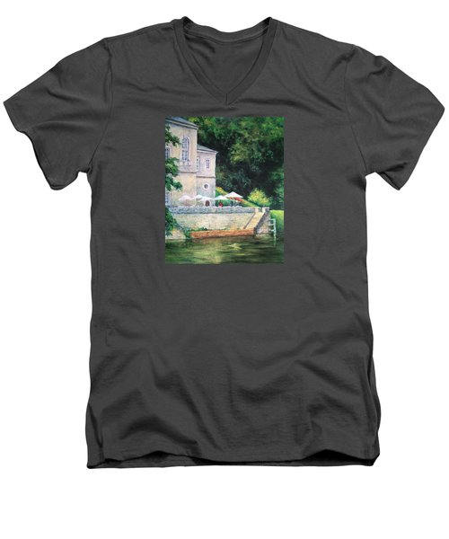 Chateau On The Lot River Men's V-Neck T-Shirt