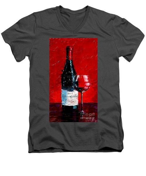 Still Life With Wine Bottle And Glass I Men's V-Neck T-Shirt