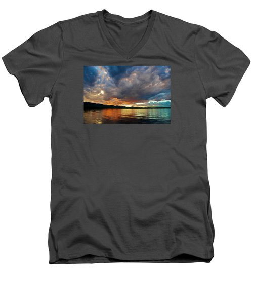 Chatfield Technicolor Sunset Men's V-Neck T-Shirt