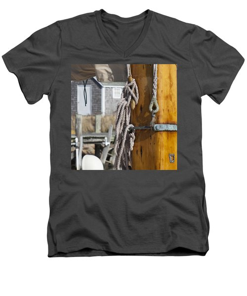 Men's V-Neck T-Shirt featuring the photograph Chatham Old Salt by Charles Harden