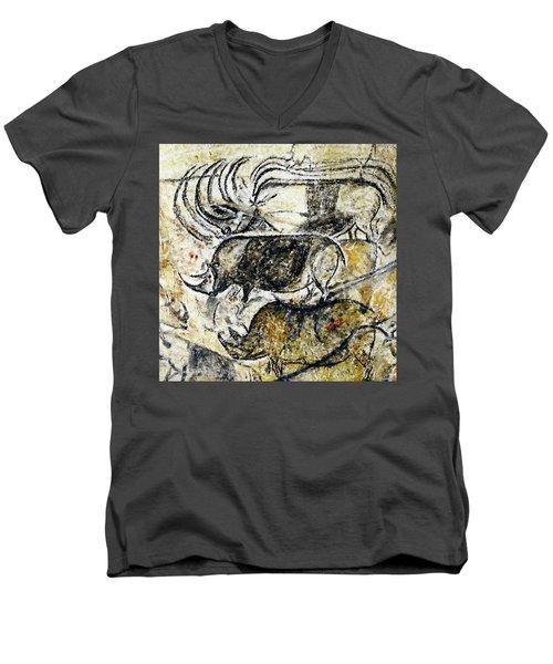 Chauvet Three Rhinoceros Men's V-Neck T-Shirt