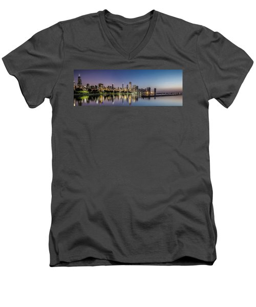 Chicago Skyline At Dawn With A Panoramic Crop  Men's V-Neck T-Shirt