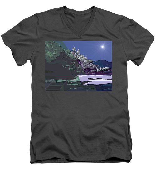 Men's V-Neck T-Shirt featuring the digital art 1978 - Nowhere  by Irmgard Schoendorf Welch