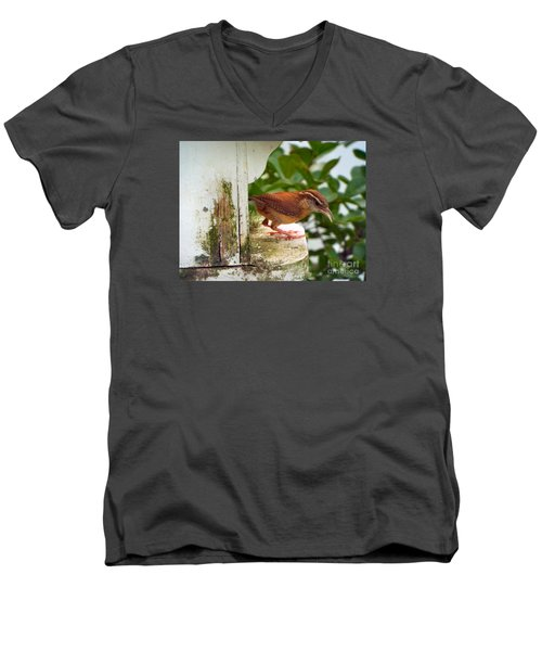 Checking Out New Digs Men's V-Neck T-Shirt by Audrey Van Tassell