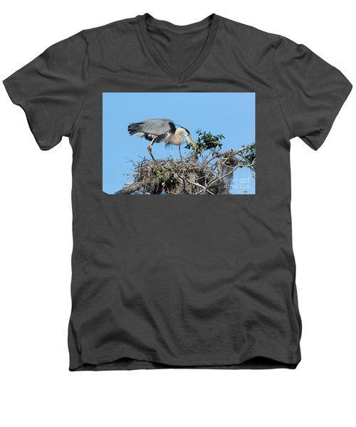 Men's V-Neck T-Shirt featuring the photograph Checking The Eggs by Deborah Benoit