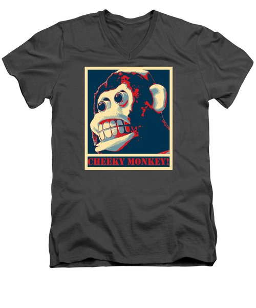 Cheeky Monkey Men's V-Neck T-Shirt by Richard Reeve