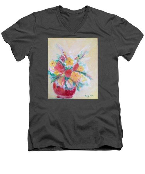 Cheerful Flower Arrangement Men's V-Neck T-Shirt
