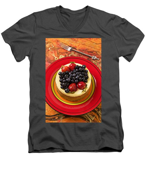 Cheesecake On Red Plate Men's V-Neck T-Shirt by Garry Gay