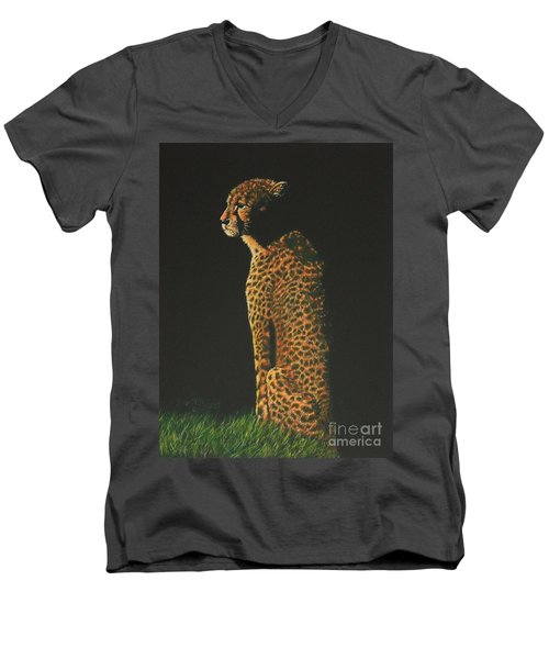 Cheetah At Sunset Men's V-Neck T-Shirt