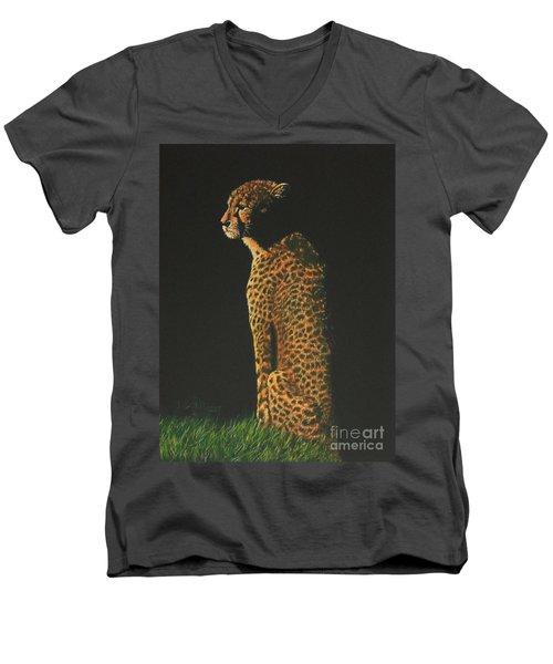 Cheetah At Sunset Men's V-Neck T-Shirt