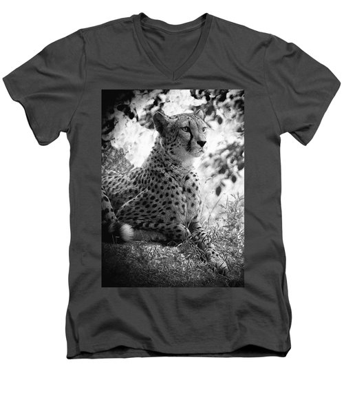 Cheetah B W, Guepard Black And White Men's V-Neck T-Shirt