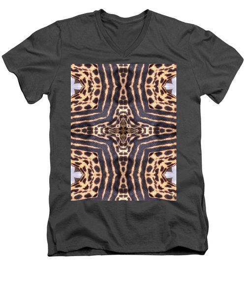 Cheetah Cross Men's V-Neck T-Shirt by Maria Watt