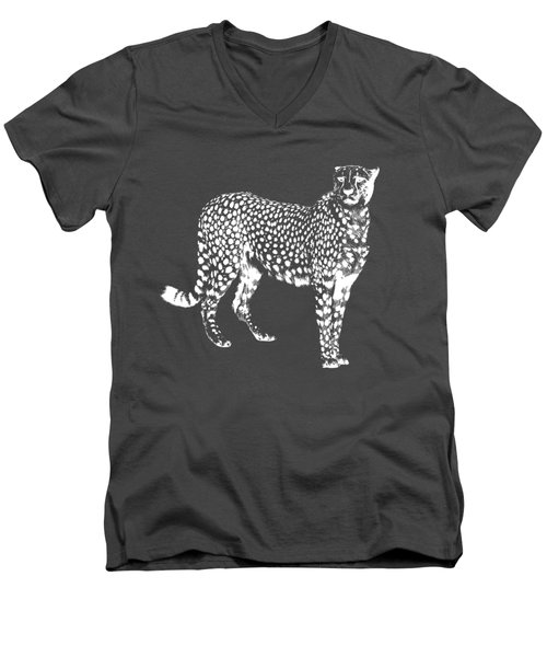 Cheetah Cut Out White Men's V-Neck T-Shirt by Greg Noblin