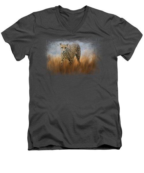 Cheetah In The Field Men's V-Neck T-Shirt by Jai Johnson