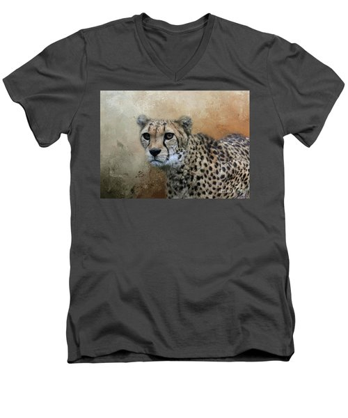 Cheetah Portrait Men's V-Neck T-Shirt by Eva Lechner