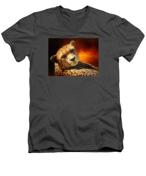 Cheetah Men's V-Neck T-Shirt by Suzanne Handel
