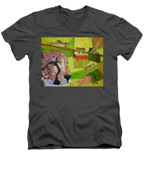 Cheetahs At Play Men's V-Neck T-Shirt
