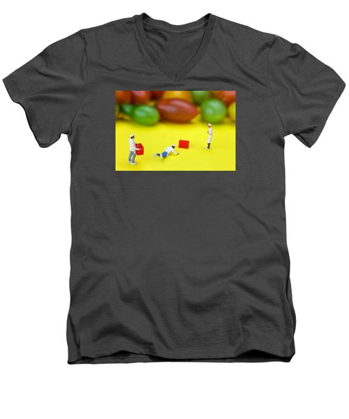 Men's V-Neck T-Shirt featuring the painting Chef Tumbled In Front Of Colorful Tomatoes Little People On Food by Paul Ge