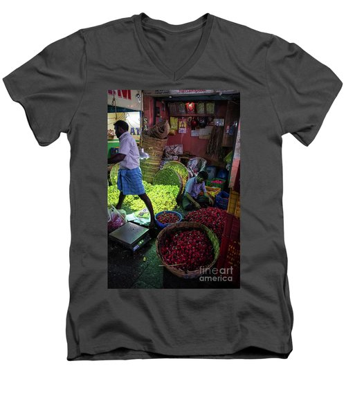 Men's V-Neck T-Shirt featuring the photograph Chennai Flower Market Busy Morning by Mike Reid