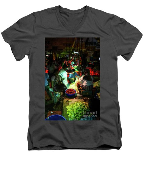 Men's V-Neck T-Shirt featuring the photograph Chennai Flower Market Stalls by Mike Reid