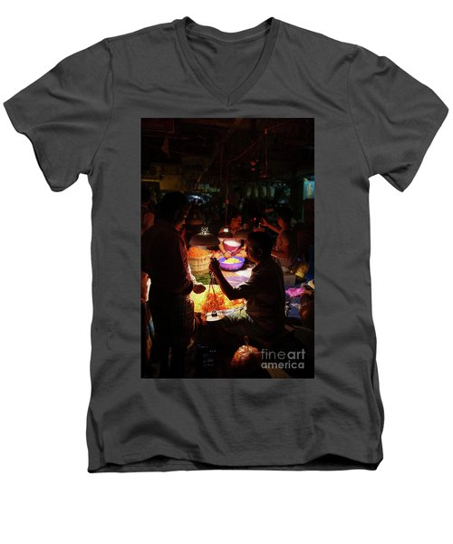 Men's V-Neck T-Shirt featuring the photograph Chennai Flower Market Transaction by Mike Reid