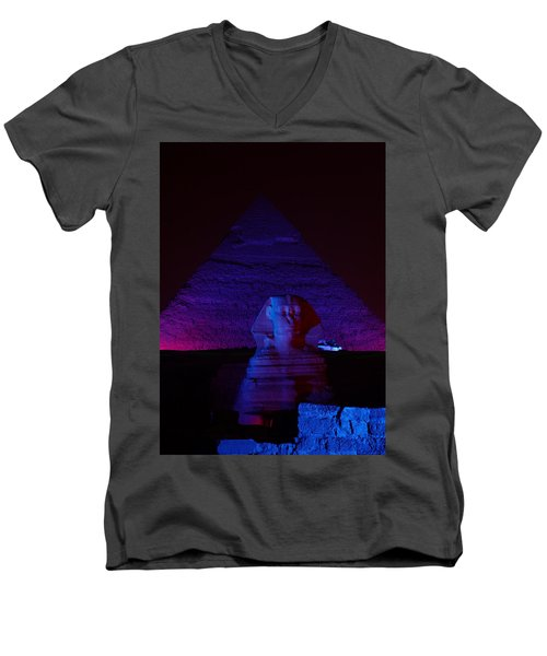 Cheops In Blue Men's V-Neck T-Shirt