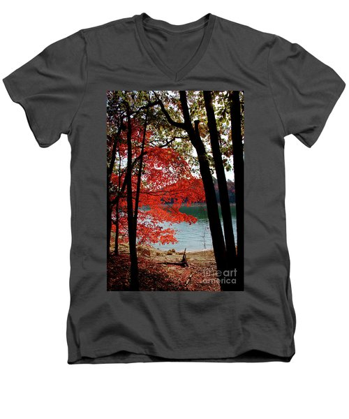 Men's V-Neck T-Shirt featuring the photograph Cherokee Lake Color by Douglas Stucky