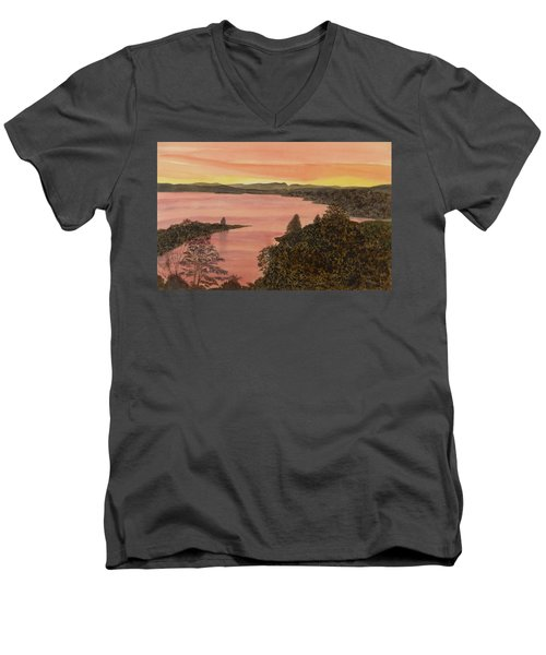 Men's V-Neck T-Shirt featuring the painting Cherokee Lake - Golden Glow by Joel Deutsch