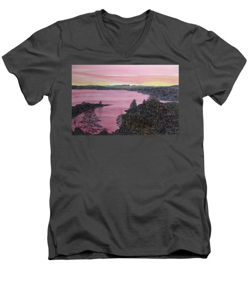 Men's V-Neck T-Shirt featuring the painting Cherokee Lake Sunset by Joel Deutsch