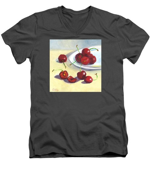 Cherries On A Plate Men's V-Neck T-Shirt by Susan Thomas