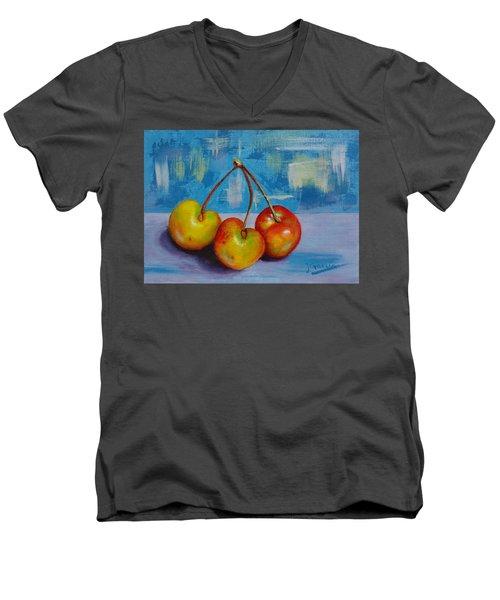 Cherries Trio Men's V-Neck T-Shirt by Janet Garcia