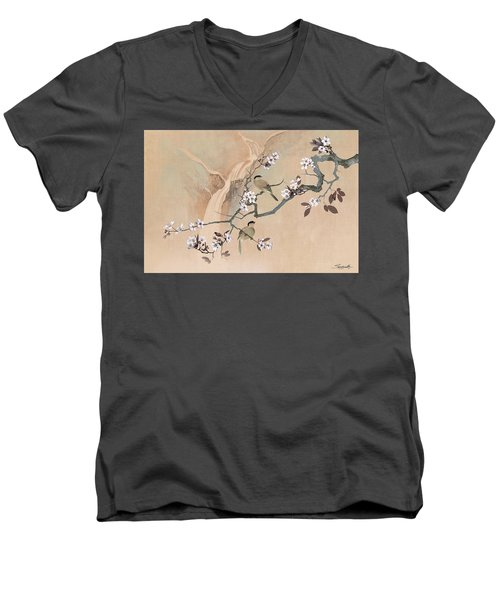 Cherry Blossom Tree And Two Birds Men's V-Neck T-Shirt
