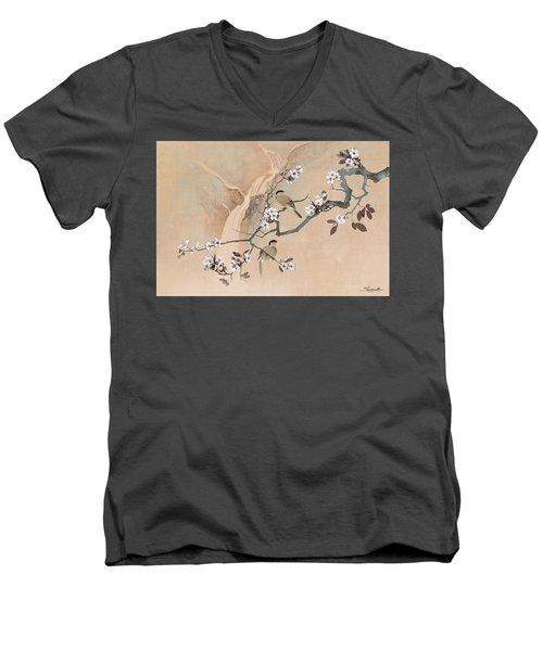 Cherry Blossom Tree And Two Birds Men's V-Neck T-Shirt