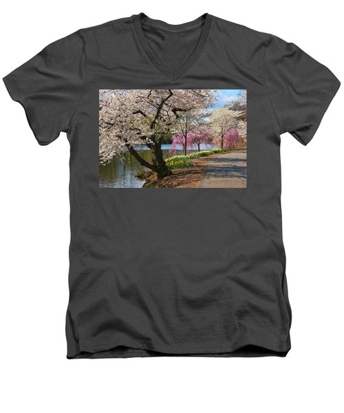 Cherry Blossom Trees Of Branch Brook Park 17 Men's V-Neck T-Shirt